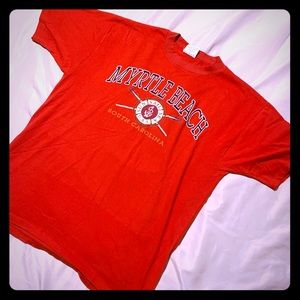 Vintage Myrtle Beach Men's Red Tee Shirt